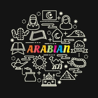 Arabian colorful gradient with line icons set