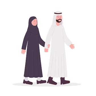 アラビアのカップルの夫と妻が一緒に歩く