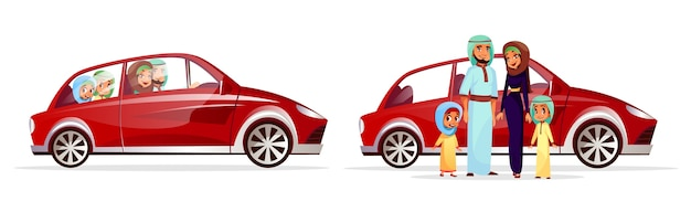 Arabian family car illustration. cartoon arab people characters of mother and father