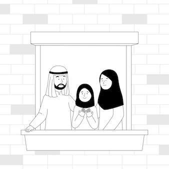 バルコニーフラットアウトラインイラストのアラビアの家族