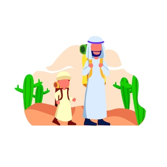 Arabian father and his son walk in desert illustration
