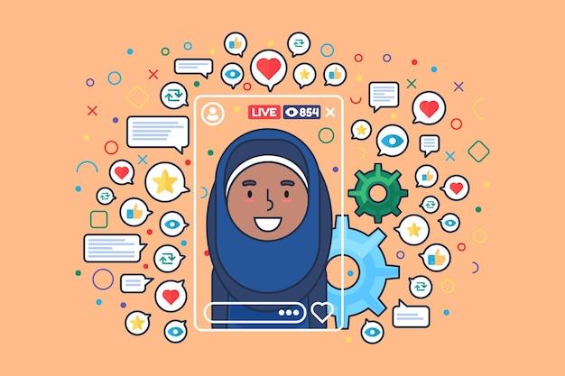 アラビアの女性ストリーマーフラットカラーベクトル文字。オンラインストーリーテリングを録音するイスラム教徒の少女。女性ブロガーは、webグラフィックデザインのライブストリーム分離漫画イラストを撮影します Premiumベクター