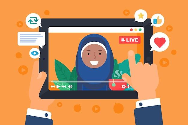 Арабская женская иллюстрация концепции веб-серпантина. мусульманская девушка в прямом эфире на экране. человек смотрит онлайн-трансляцию на дисплее. таблетка в руках полу плоский мультяшный рисунок. вектор изолированных значок цвета