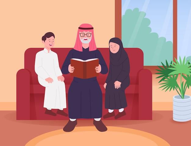 Арабские бабушка и дедушка читают сказки с внуками