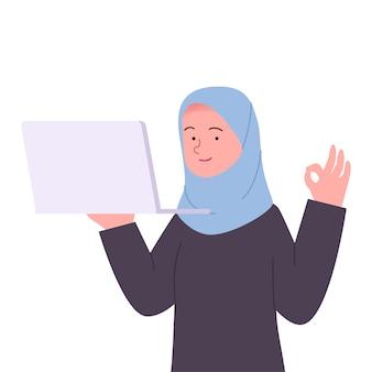 아라비아 hijab 여자 제스처 확인 노트북 만화를 들고