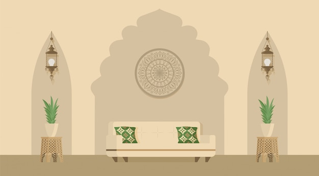 Arabian or indian style designed living room decorated with arabic lanterns. oriental style of room decoration.