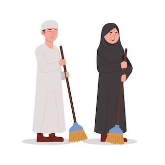Arabian kids carrying broom for cleaning cartoon illustration