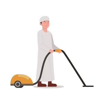 Arabian kids with vacuum cleaner