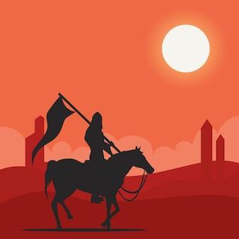砂漠の図のアラビアの騎士