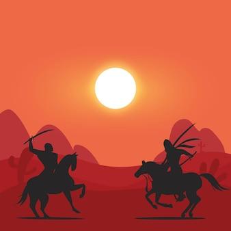 사막에서 말을 타고 전투에 아라비아 기사