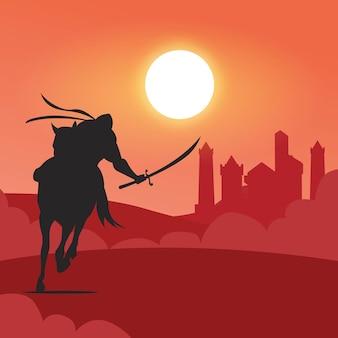 사막에서 말을 타고 아라비아 기사