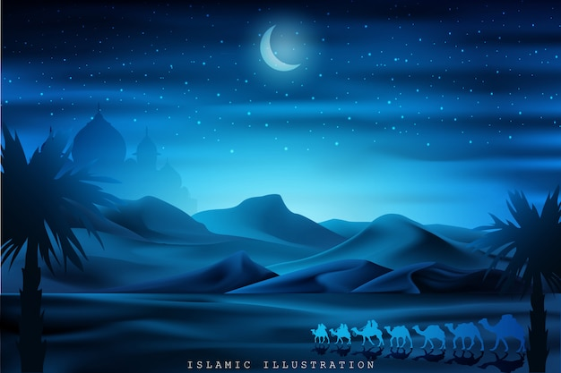 Arabian land by riding on camels at night accompanied by sparkles of stars, mosques