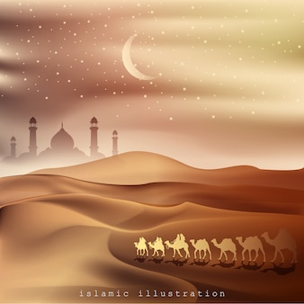 Arabian land and desert by riding on camels