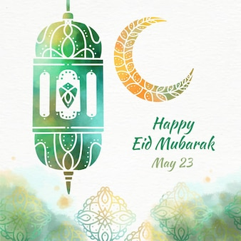 Arabian lantern watercolour eid mubarak