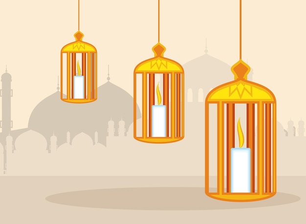 Arabian light lanterns decoration banner