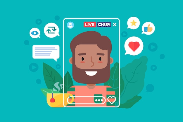 Arabian male streamer flat color vector character. arabic man blogger creates content in real life. online broadcast on smartphone. live stream isolated cartoon illustration for web graphic design