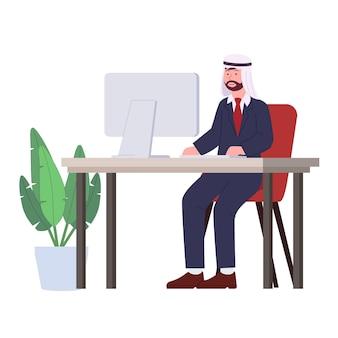 コンピューターフラットイラストのアラビア人サラリーマン