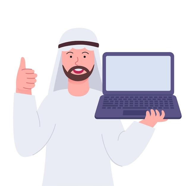 아라비아 사람 엄지 손가락 및 노트북을 보여주는
