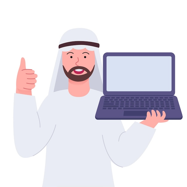 Arabian man thumbs up and showing laptop
