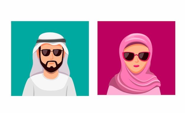 Arabian man wear turban and woman hijab couple wear eyeglasses icon set in cartoon illustration