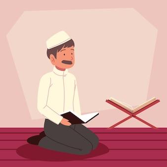 모스크에서 꾸란과 아라비아 사람