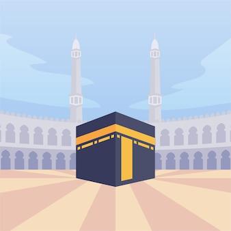 현대 만화 플랫 스타일 아라비아 이슬람교도 카바 메카