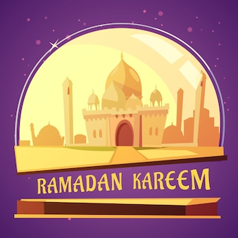 Arabian mosque ramadan cartoon illustration