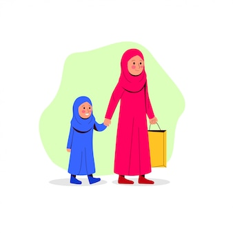 Arabian mother and her daughter walking together bring paper bag