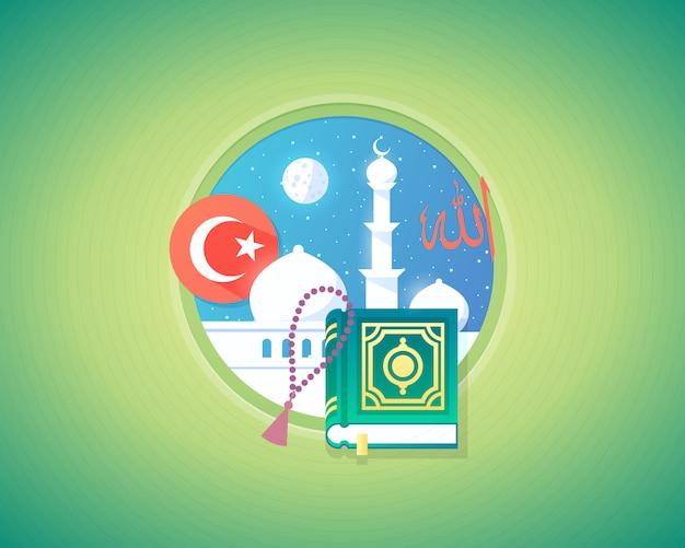 アラビアのイスラム教の文化と言語の概念図。モダンなスタイル。