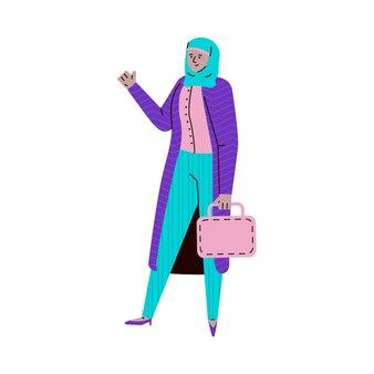 Arabian muslim girl in hijab and modern casual wear