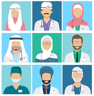 Arabian muslim medical staff avatars. doctor and physician, surgeon and nurse, dentist and pharmacist  icons. set of avatars