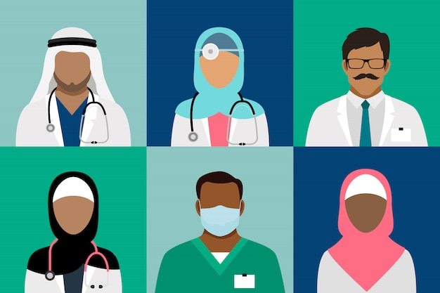 Arabian muslim medical staff avatars. doctor and physician, surgeon and nurse, dentist and pharmacist vector