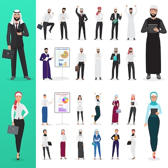 Arabian muslim office business man and business woman poses
