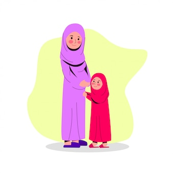 Arabian pregnant mother with her daughter flat vector illustration