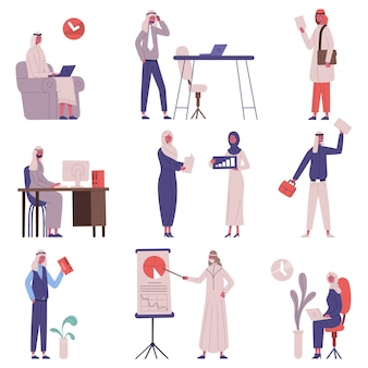 Arabian saudi islamic office business team people. muslim man and woman business busy characters work in office vector illustration set. arab business colleagues