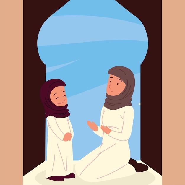 전통 옷을 입고 아라비아 여자 소녀 프리미엄 벡터