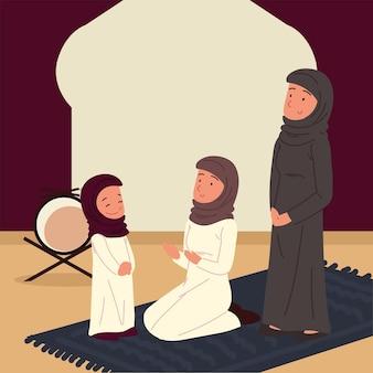 카펫에 모스크에서 아라비아 여성