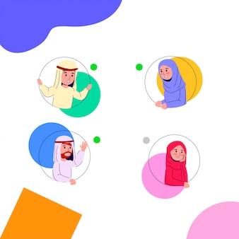 Arabian young teen on round hole illustration