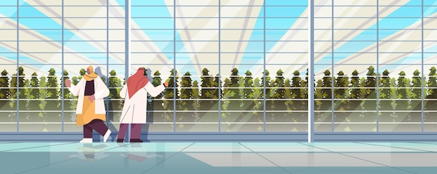Arabic agricultural engineers researching plants in greenhouse smart farm agriculture scientist concept horizontal full length vector illustration