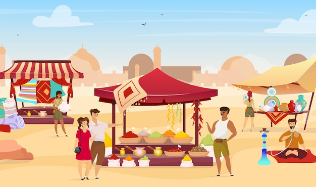 Arabic bazaar flat color . tourists at turkish marketplace with trade awnings. travelers buying egyptian souvenirs faceless cartoon characters with desert town on background