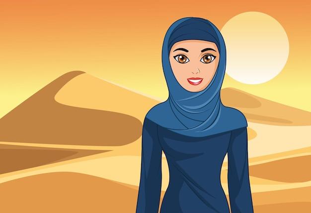 사막에서 아랍어 신부