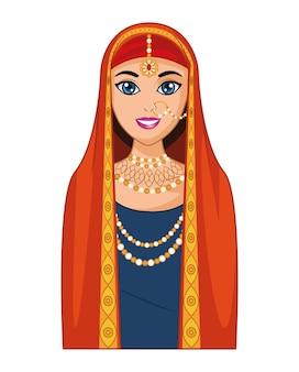 빨간 드레스와 아랍어 신부