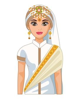 흰색 드레스와 아랍어 신부
