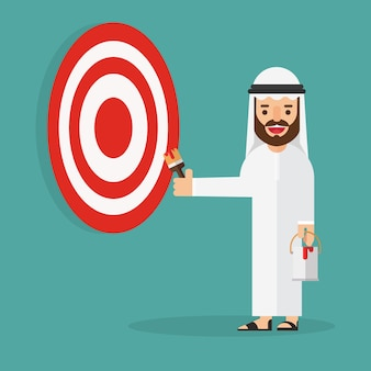 Arabic business man on ladder