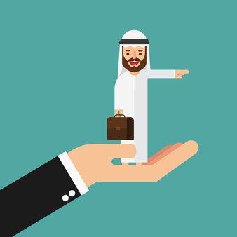 Арабский деловой человек ищет бинокль на большой руке
