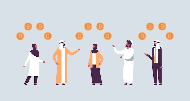Arabic business people mining bitcoin crypto currency concept
