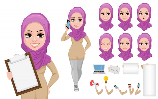 Arabic business woman cartoon character creation set