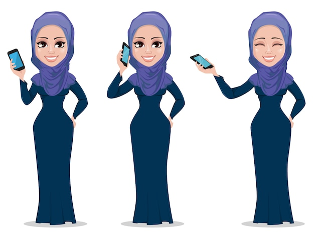 Arabic business woman cartoon character