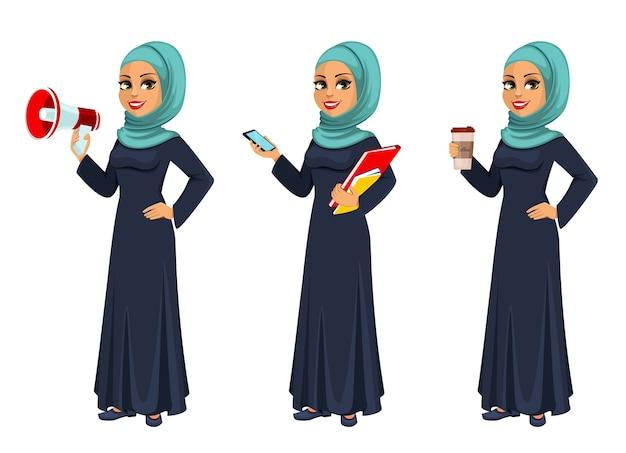 アラビアのビジネスウーマンイスラム教徒の実業家