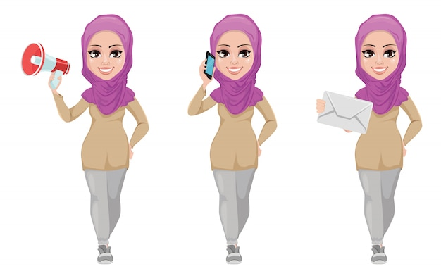 Arabic business woman, smiling cartoon character